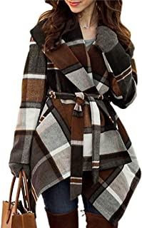 Women's Turn Down Shawl Collar Earth Tone Check/Black...
