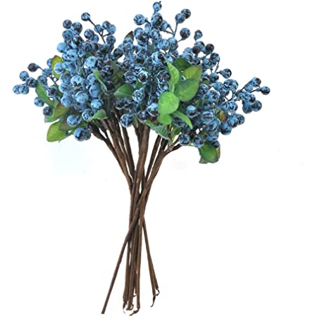 10pcs Rustic Artificial Blueberry Artificial Plants For Home Decor Indoor Branch Bouquet 1 Home Kitchen