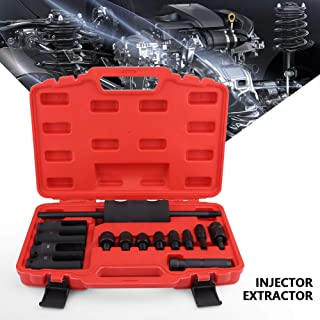 Qiilu Diesel Injector Extractor, 14pcs Common Rail Injector Remover Tool Kit with Slide Hammer for Car Puller Injection Repairing