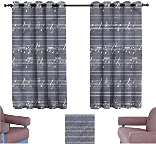 Mannwarehouse Grey Printed Insulation Curtain Music Sheet and Notes Pattern Suitable for Bedroom Living Room Study, etc.55 Wx45 L