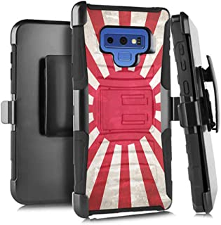 Moriko Case Compatible with Galaxy Note 9 [Dual Layer Heavy Duty Combat Belt Clip Shockproof Kickstand Holster Black Case Cover] for Samsung Galaxy Note9 SM-N960 (Japan Vintage Flag Rising Sun)