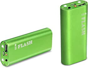 iFlash® 5200mAh Aluminum Housing Slim External Battery Charger for The NEW iPad the 3rd Gen ipad, iPad2, iPhone 5 4S 4 3Gs 3G, iPod Touch (1G to 5G), Android (Samsung Galaxy Note S S2 S3, HTC Sensation EVO Thunderbolt, LG Optimus V), Blackberry (Bold curve Torch), Droid(Motorola Razr), Plus Major Tablet PCs with 5V input (Samsung, Blackberry, HTC) with LED flash light (Green Color, Retail Package)
