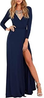 Women's USA Sexy Long Sleeve Tulip Wrap Slit Front Full Long Maxi Dress