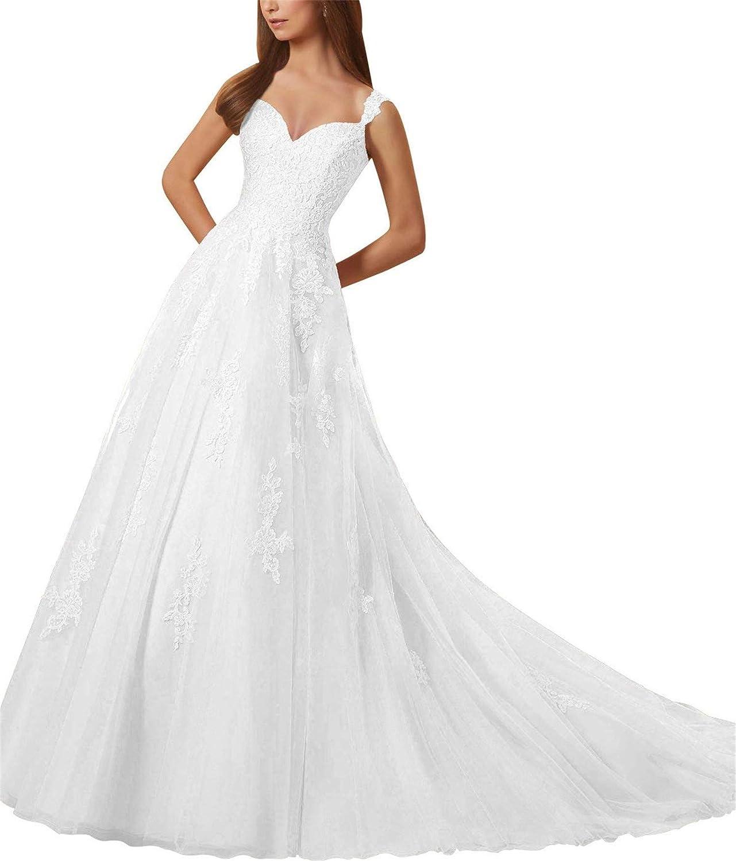 Falydal 2019 Spaghetti V Neck A Line Wedding Dress Applique Brial Ball Gown for Women
