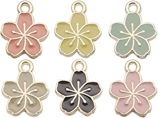 WOCRAFT 60 pcs Gold Plated Enamel Cherry Blossoms Flower Charms Pendant for Jewelry Making Necklace Bracelet Earring DIY J...
