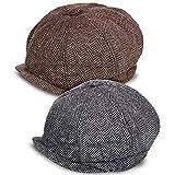 2 Piezas Gorras de Vendedor de Periódicos de Hombres Boina Vintage Sombrero de Condución de Tweed Plano de Lana