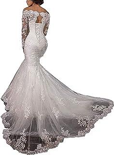 Dimei Lace Mermaid Bridal Gown Wedding Dress Long Sleeve Bride Dress Wedding