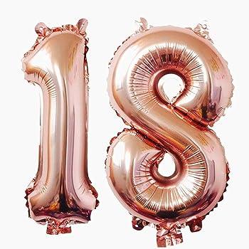 Ouinne Ballon Zahl 18, 40 Zoll Helium Folie Luftballon 18 Geburtstag Folienballon Geburtstag Dekoration Set Riesen Folienballon Fur Party (Rose)