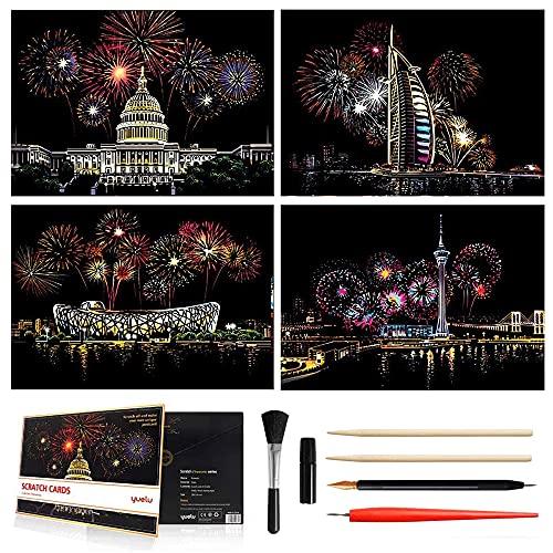 4X Kratzbilder, Feuerwerk Wandbild Kratzpapier 290 x 210 MM Weltberühmte Sehenswürdigkeiten Scratch Art Papier, DIY Nachtbild, Kratzbrett für Erwachsene und Kinder