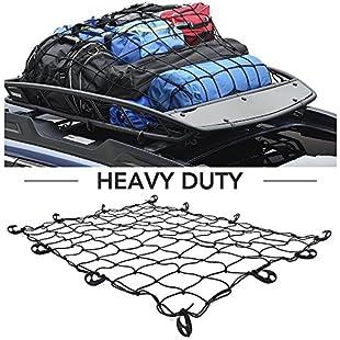 "9 MOON Cargo Net -Heavy Duty Truck Bed Net Auto Roof Tie-Down Net - Bungee Cord 48"" x 36"" universal fit UTVs, Cars, SUVs, Trucks, Vans, and Boats"