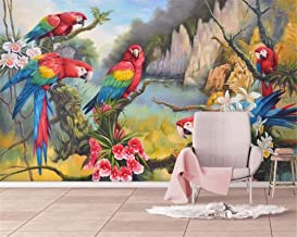 Mural wallpaper 3D Wallpaper Hand Painted Tropical Forest Colorful Parrot Background Wall Painting Wallpaper Mural 3D for ...