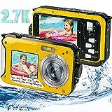 iSunFun Camara Acuatica Camara Sumergibles HD 2.7K 48MP Camara de Fotos Acuatica con Pantalla Dual Zoom Digital 16X