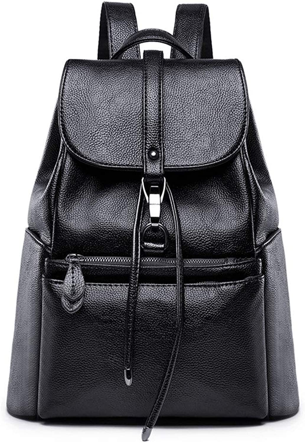 Fashion Ladies Backpack Women's Pu Leather Wild Women's Travel Bag New Ladies Backpack (color   Black, Size   One Size)
