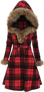Fashion Plus Size Plaid Faux Fur Hood Longline Coat