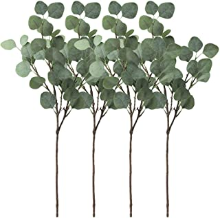 Winlyn Pack of 4 Artificial Silver Dollar Eucalyptus Bushes in Grey Green 25.5