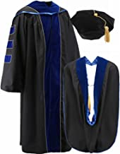 Annhiengrad Unisex Deluxe Doctoral Graduation Gown,Hood and 8 Sided Tam,Royal Blue