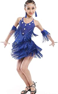 Beautiful Dance Skirt Costume Kids Clothing Girls Toddler Jazz Dance Clothes Rumba Chacha Latina Dance Costume Fashion (Color : Blue, Size : 170cm)
