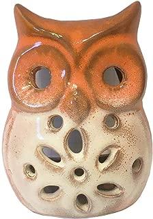 Secret for Longevity Small Orange Rust Brown White Cream Tan Brown Earth Tones Ceramic Indoor Outdoor Owl Teal Light Candle Holder Statue Figurine Home Decor