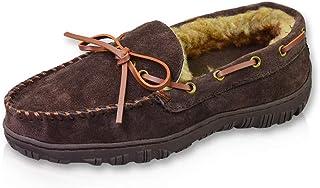 Men's Warm Microsuede Thick Plush Lining Genuine Cowhide Indoor Outdoor Bedroom Moccasin Loafers (FBA)