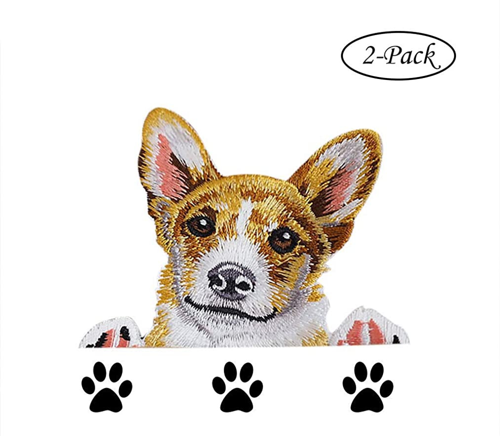 Cutely Corgi Dog Embroidered Patch Applique 2pcs Kawaii Puppy Ironing Patch for Apparel -BuryTony