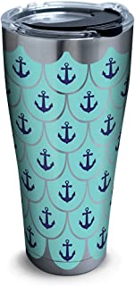 Tervis Anchors & Scallops Pattern Stainless Steel Tumbler with Clear and Black Hammer Lid 30oz, Silver