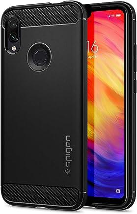 Spigen Rugged Armor, Cover Xiaomi Redmi Note 7/ Xiaomi Redmi Note 7 PRO, TPU Design in Fibra di Carbonio Originale Custodia - Nero