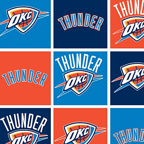 Fleece (not for masks) Oklahoma City Thunder Boxes NBA Basketball Sports Team Fleece Fabric Print by the yard (A609.31)