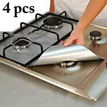 JUSTDOLIFE 4Pcs Stove Burner Cover Non Stick Reusable Stove Liner Protector For Kitchen One Size Silver