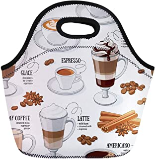 Semtomn Lunch Bags Dessert White Cafe Different Types of Coffee Caffeine Mocha Neoprene Lunch Bag Lunchbox Tote Bag Portable Picnic Bag Cooler Bag