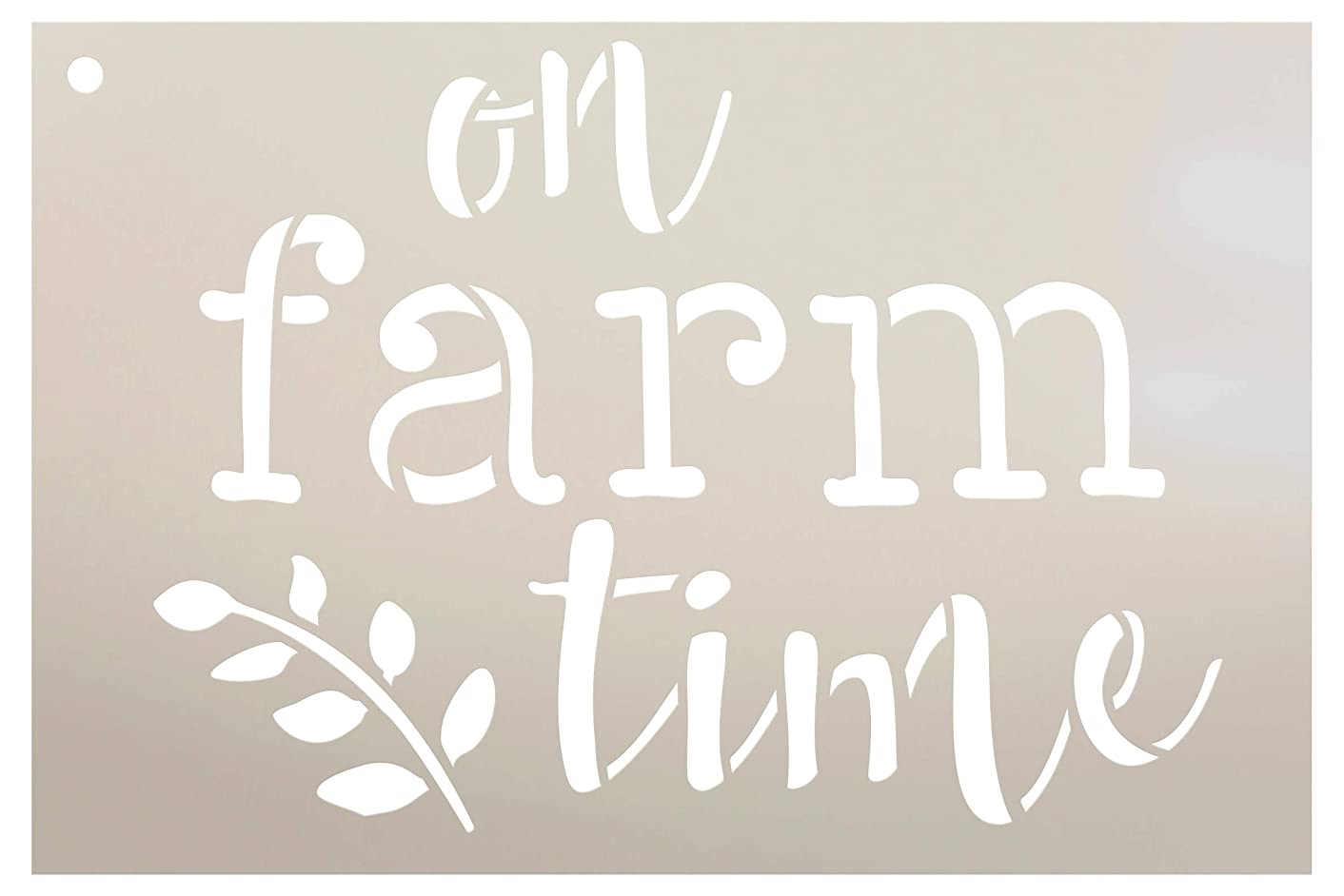 On Farm Time with Grain Stalk Stencil by StudioR12 | Reusable Mylar Template | Use to Paint Wood Signs - Pallets - Walls - Apron - DIY Country Decor - Select Size (9