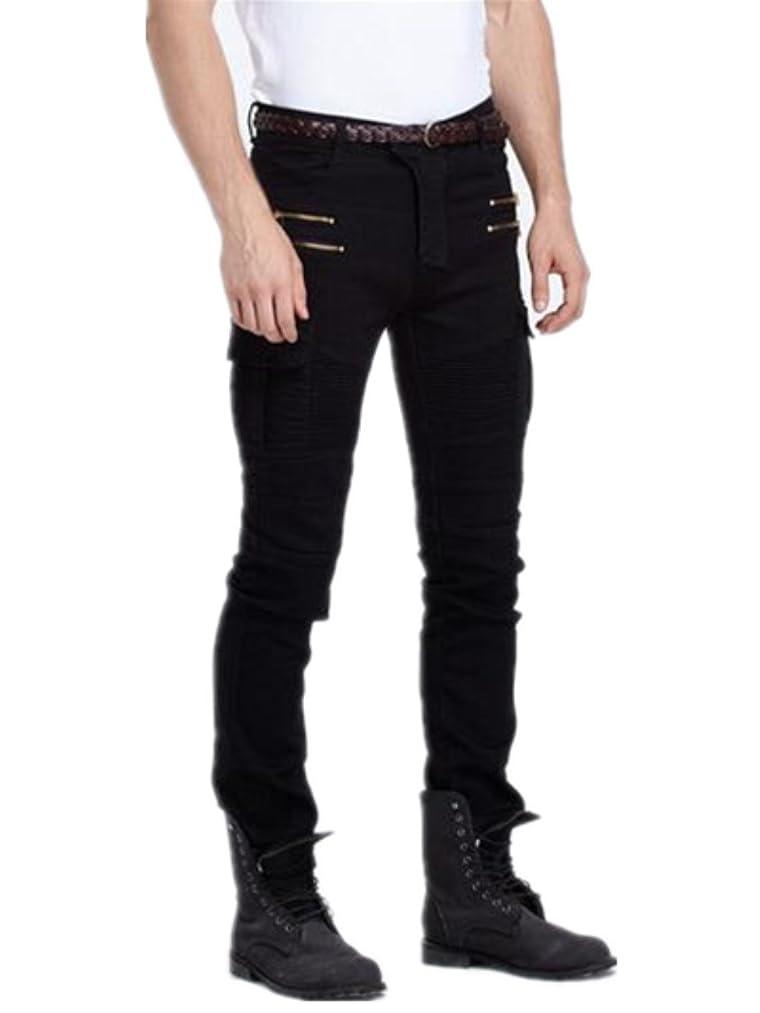 Vionr Mens Biker Slim Fit Casual Denim Pant Skinny Jeans with Zipper Design
