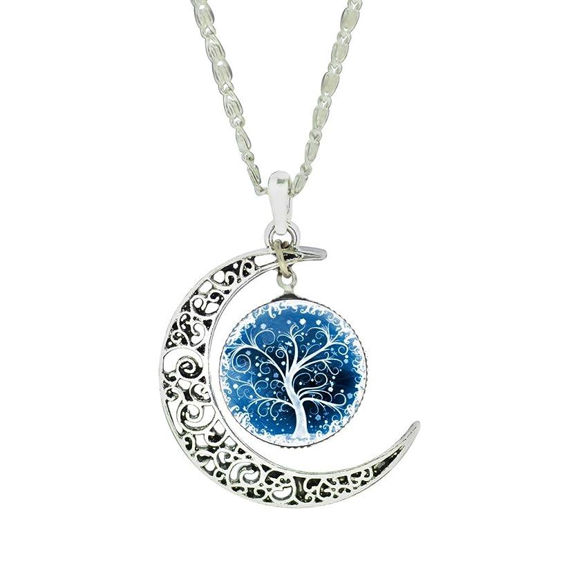 Women Unique Design Carve Flower Crescent Moon Life Tree Glass Cabochon Pendant Chain Necklace
