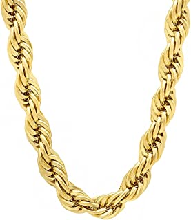Men's 14k Gold Plated 7mm Chunky Rope Chain Necklace or Bracelet 7