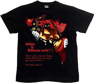 [GENJU] Tシャツ ハロウィン 黒猫 チーム イベント スポーツジム こうもり 蝙蝠 カボチャ かぼちゃ HALLOWEEN 背面無地版 メンズ キッズ