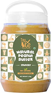 Trubite Natural Peanut Butter (Crunchy) | Unsweetened | 30g Protein | Non GMO | Gluten Free | Cholesterol Free (2.5kg)