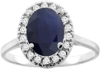 Silver City Jewelry 10K Gold Natural Blue Sapphire Halo Ring Oval 9x7mm Diamond Accent, Sizes 5-10