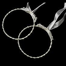 Adonia Ivory Elegant Greek Stefana Wedding Crowns w/ Silver Beading Bridal Ribbon Headband