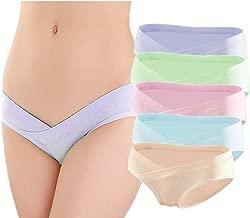GEPAI 5 Pcs Women's Under Bump Cotton Maternity Panties Healthy Underwear, Multi Pack