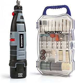 WORKPRO Cordless Rotary Tool Kit Variable Speed 12V Li-Ion Battery Powered with 70-piece..