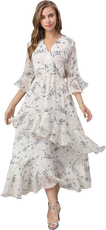 XINUO Women's Dresses V Neck Chiffon Floral Summer Casual Formal Work Maxi Sundress Cocktail Boho Midi Dress 2021 New
