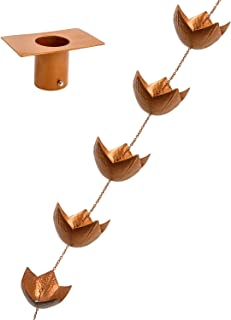Vindar Decorative Iron Lotus Rain Chain for Gutter, 8.5 Feet and 10 Cups to Collect Water with T Shaped Hook Adapter Installation