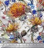 Soimoi Orange Satin Seide Stoff Blätter & Klee Blume