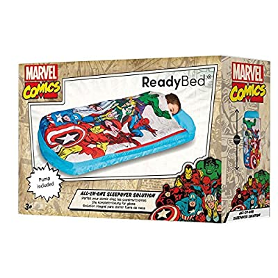 ReadyBed Marvel Comics All in One Sleepover Bed Airbed and Sleeping Bag in One Nap Mat Captain America Thor Spiderman Iron Man from ReadyBed