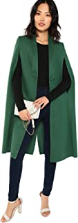 Verdusa Women's Open Front Split Sleeve Button Long Trench Coat Cape