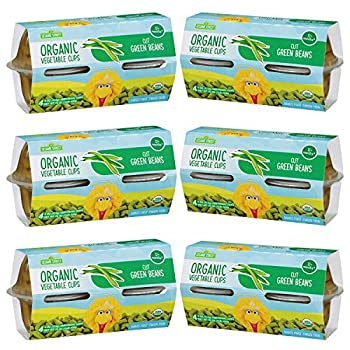 Sesame Street Organic Cut Green Beans | First Finger Food for Children 12+ Months | Ready-to-Enjoy! | Deliciously Mild Subtly Sweet Tender-Crisp | Six 4-pack sleeves of 4.0 oz cups  24 cups total