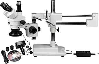 AmScope SM-4TZ-144-5MT Trinocular Stereo Microscope, WF10x Eyepieces, 3.5X-90X Magnification, 0.7X-4.5X Objective Power, 0.5X and 2.0X Barlow Lenses, 144-Bulb Ring-Style LED Light Source, Double-Arm Boom Stand, 110-240V, Includes 5MP Camera and Software