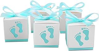 Tomkity 100 Pezzi Scatoline Porta Confetti con 100 Nastri per la Nascita o il Battesimo