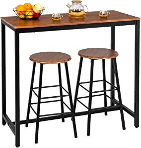 Bonnlo 3 Piece Counter Height Table Set Kitchen Bar Table Set with 2 Stools Breakfast Bistro Set Dining Table Set for 2,Light Brown