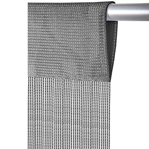 Arsvita Fadenvorhang mit Stangendurchzug, individuell kürzbare Gardine, moderner und eleganter Dekorationsartikel in vielen Farben und Ausführungen (B90xL250 cm/grau - Silbergrau)