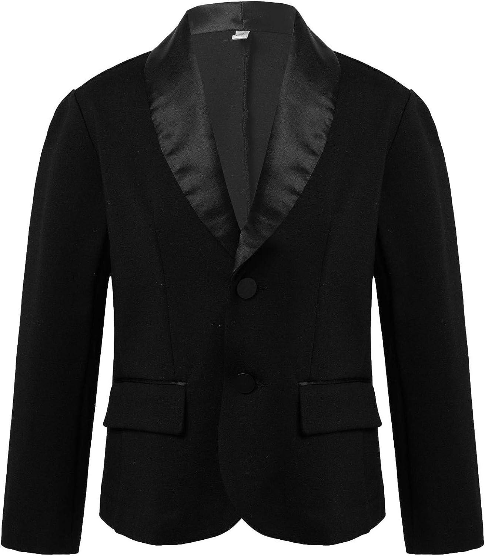 ranrann Kids Boys Black Turn-Down Collar Blazer Formal Suit Coat Top Jacket for Wedding Graduationl